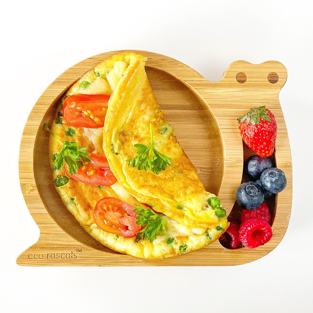 QUICK BABY OMELETTE in bamboo plate