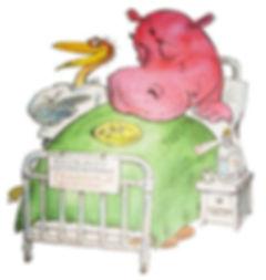 бегемот лежит на больничной койке в сказ