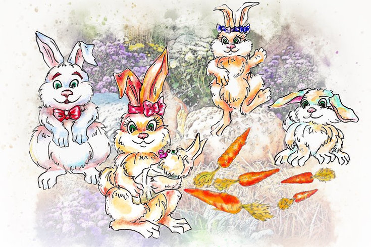 зайчата делят морковь#детский сайт Юморашка#весёлый счёт