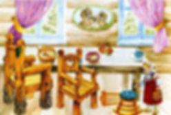 сломанный стульчик в домике медведей в д