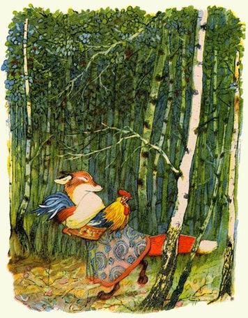 лиса несет петушка в лес сказка.jpg