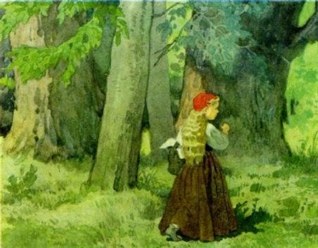 Красная шапочка идёт по лесу детский жур