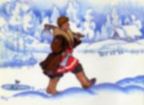 Емеля удивленный идет за ведрами сказка