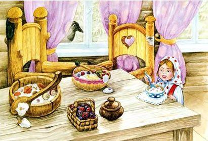 маша ест кашу в домике медведей в детско
