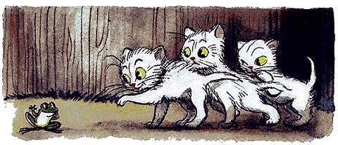три котенка увидели во дворе лягушку.jpg