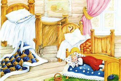 машенька спит в кроватке в русской сказк