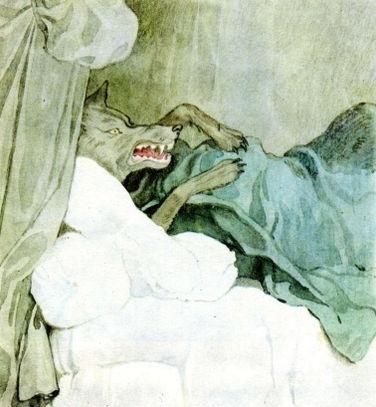 волк съел бабушку и лёг на её кровать.jp