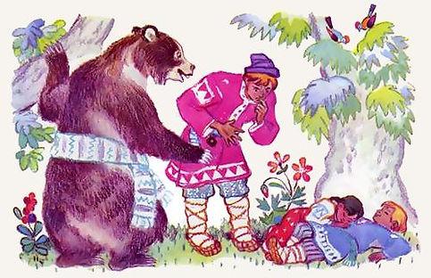 Иван с медведем нашел детей в лесу сказк