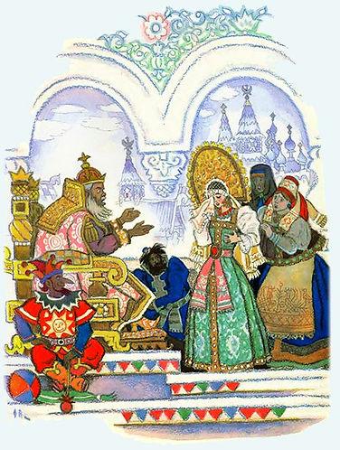Емеля во дворце с царевной сказка детски