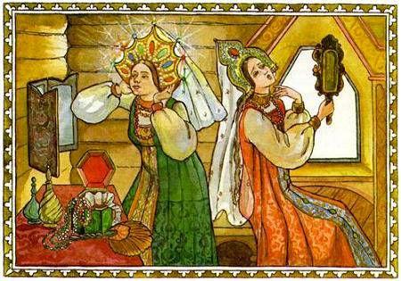 две девицы любуются в зеркало в русском