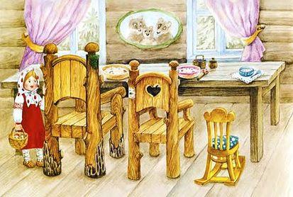 маша смотрит на стулья в ломике в сказке