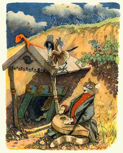 кот и дрозд поют песни под окном лисы ск