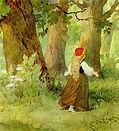 Красная шапочка стала рвать цветы для ба