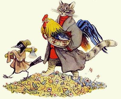 кот дрозд и петушок идут домой сказка.jp