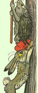 зайчик и ежик забираются на дерево в ска