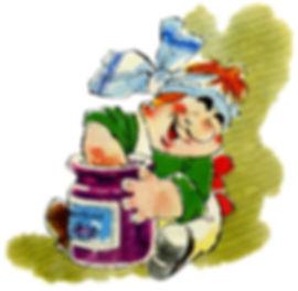 Больной Карлсон поедает варенье из банки
