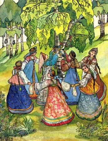 девицы водят хоровод в лесу в сказке Але