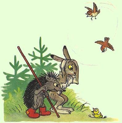 зайчик и ёжик увидели птенца в сказке в