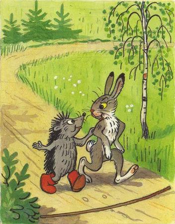 Ёжик идёт с зайчиком по дороге в лесу ск