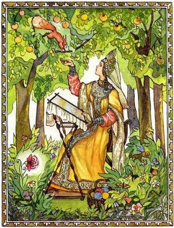 девица сидит в сказочном парке на остров