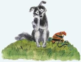 собака сидит одиноко в лесу в русской на