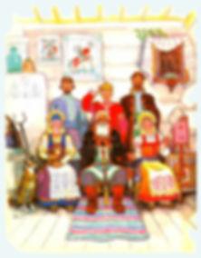 семья Емели сидит в доме праздник сказка