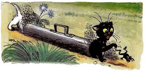 три котенка залезли в трубу за лягушкой.