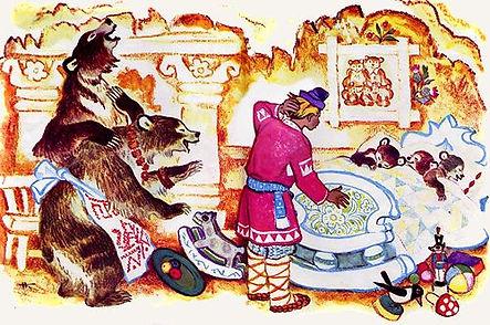 медведица показывает Ивану своих медвежа