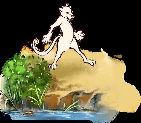 Ягуар гуляет по берегу озера сказка в детско журнале Юморашка онлайн