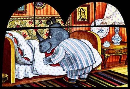 папа носорог ложится спать в сказке детс