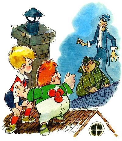 малыш и Карлсон увидели жуликов на крыше