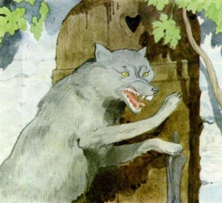 Серый волк стучится к бабушке в дверь.jp
