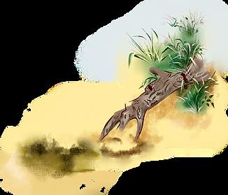 коряга у берега озера в сказке два художника