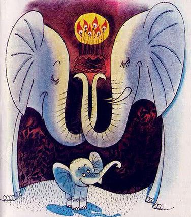 слоненок с мамой и папой в сказке в детс