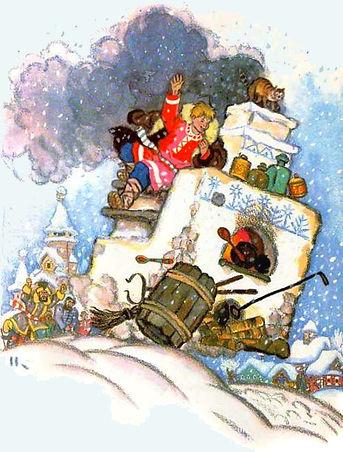 Емеля едет на печи по снегу сказка детск