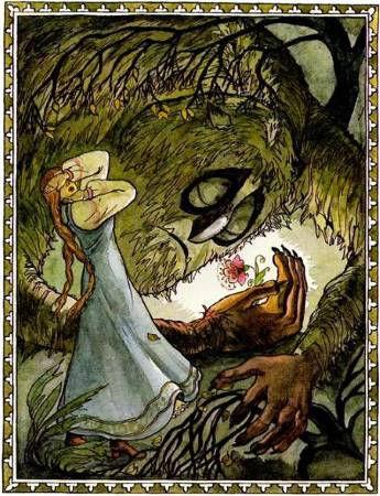 девица встречается с чудицем на острове.