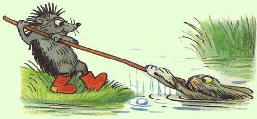 ёжик вытаскивает зайчика из речки сказка