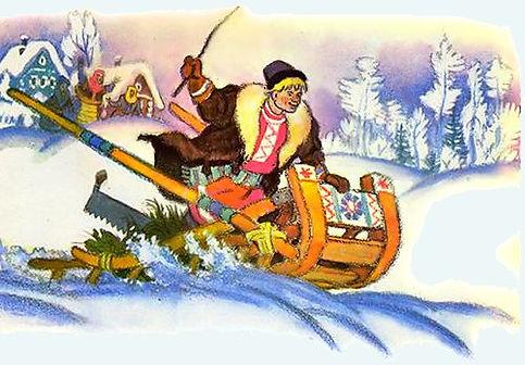 Емеля едет на санях без коня сказка детс