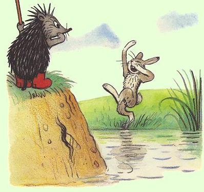 зайчик кричит ёжику с берега сказка в де
