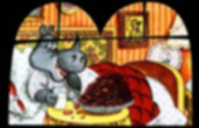 носорог лежит в постели и есть гору пече