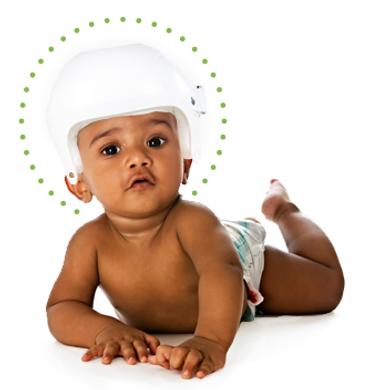 Baby in P-POD helmet