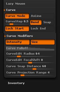Curve tube settings