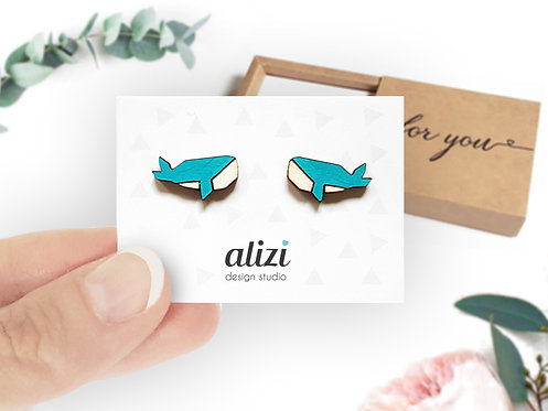 Earrings - Whales - Turquoise