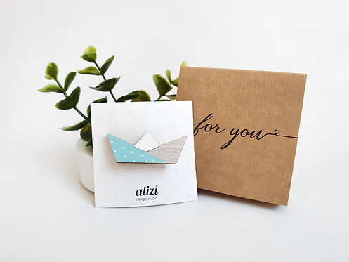 MINI Brooch - Paper Boat - Mint