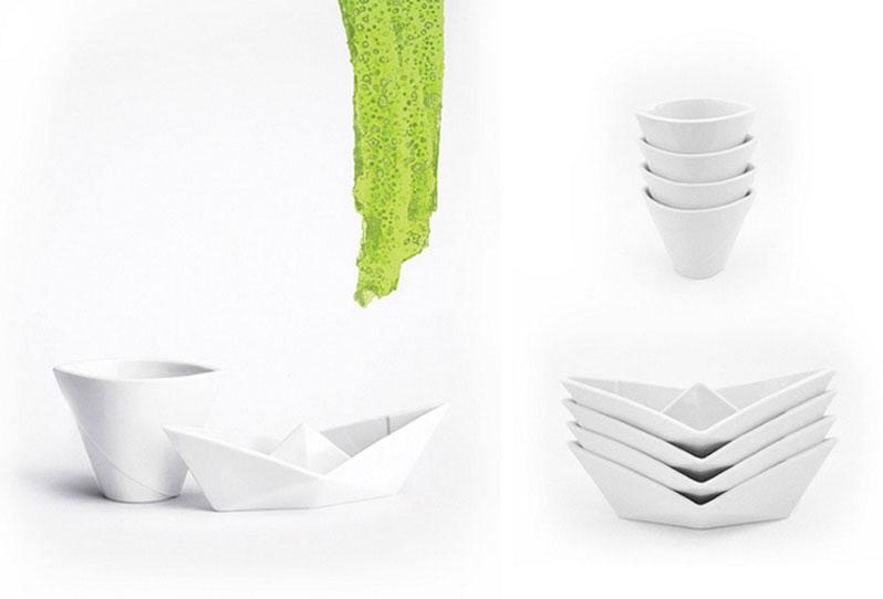 ALIZI.PORCELAIN PAPER BOAT + CUP