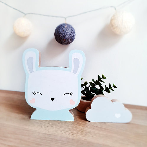 BUNNY + CLOUD (mint / grey) or (mint / peach)