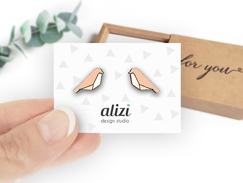 Earrings - Birds Geometric - Peach