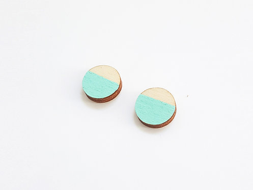 ALIZI.PLAY-WOOD Earrings - cirles - mint