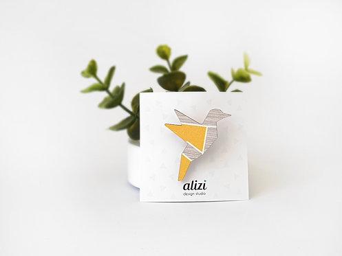 MINI Brooch - Origami Bird - Yellow