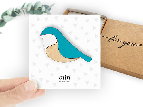 Brooch - Bird Rounded - Turquoise